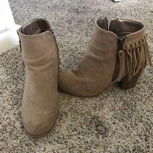 Shoes - Beige fringe booties